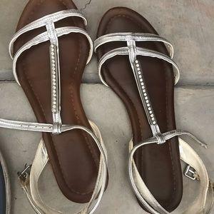 ALDO silver gladiator sandals with rhinestones